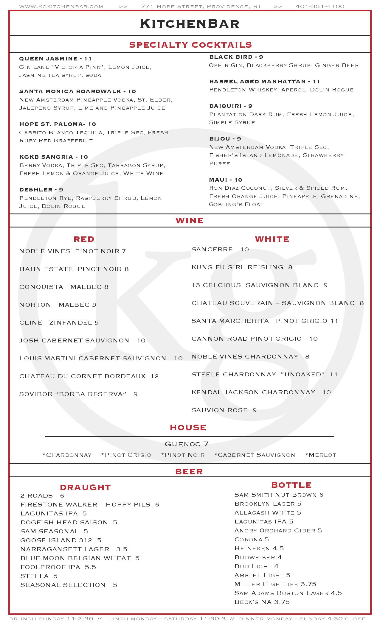 menu – kg kitchen bar